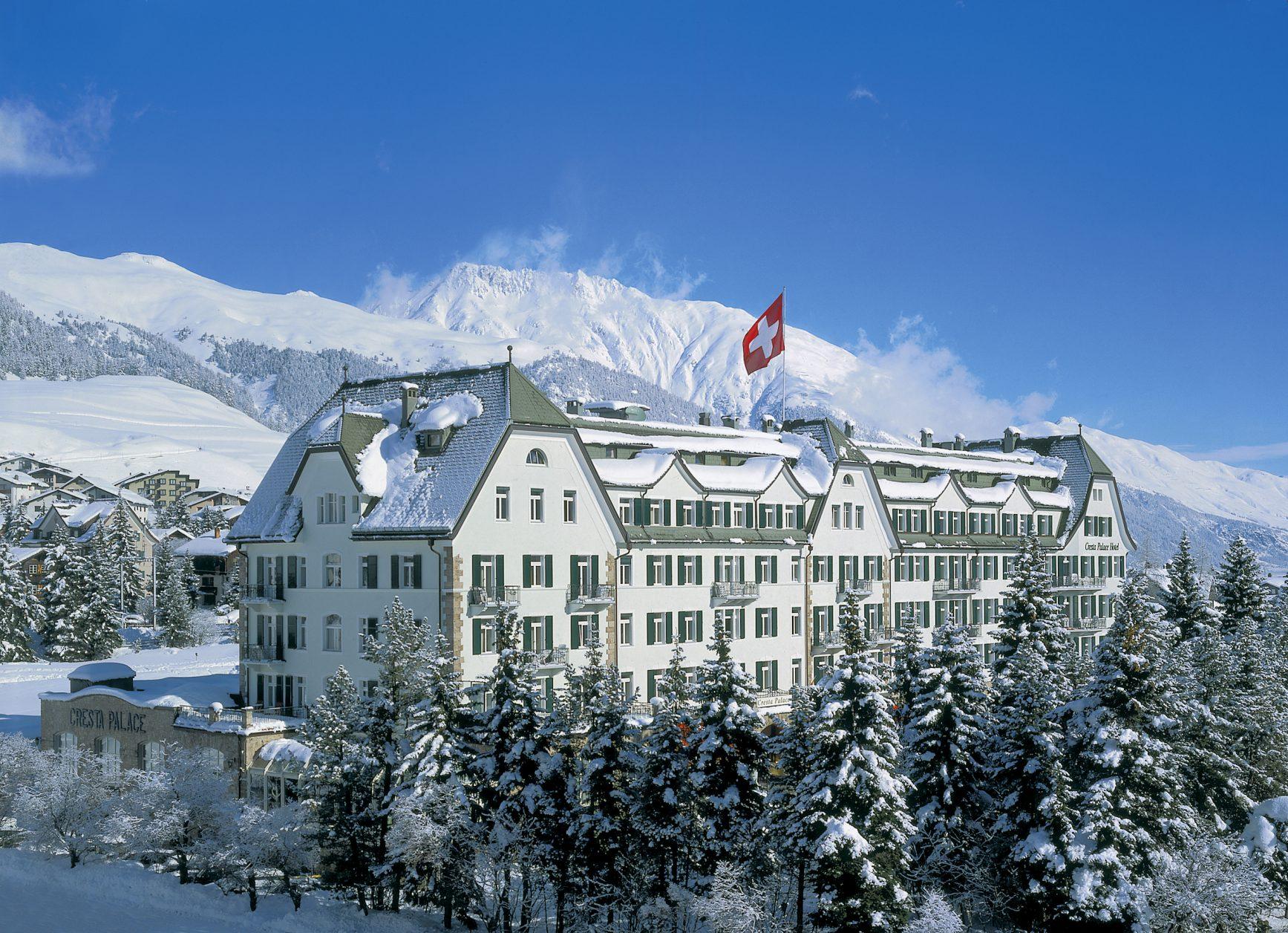 Ein Traum in Weiss: Das Grandhotel Cresta Palace im Winter, Foto: Cresta Palace