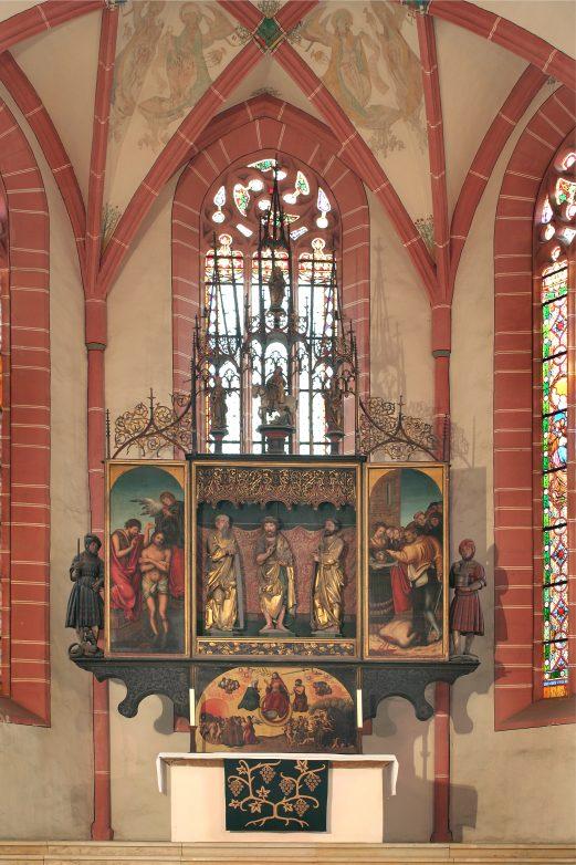 Der monumentale, vorreformatorische Cranach Altar aus dem Jahr 1512 in Neustadt/Orla. Er steht noch heute da, wo ihn einst die Gehilfen Lucas Cranachs aufgestellt haben. Foto: Kultur- und Tourismusamt Neustadt.